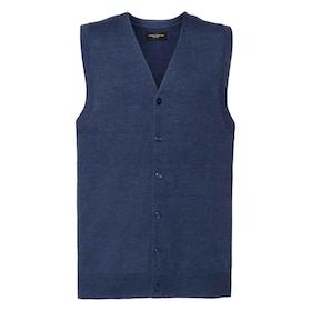 Blå ärmlös stickad cardigan