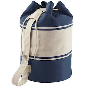 Blå/vit canvas duffelbag