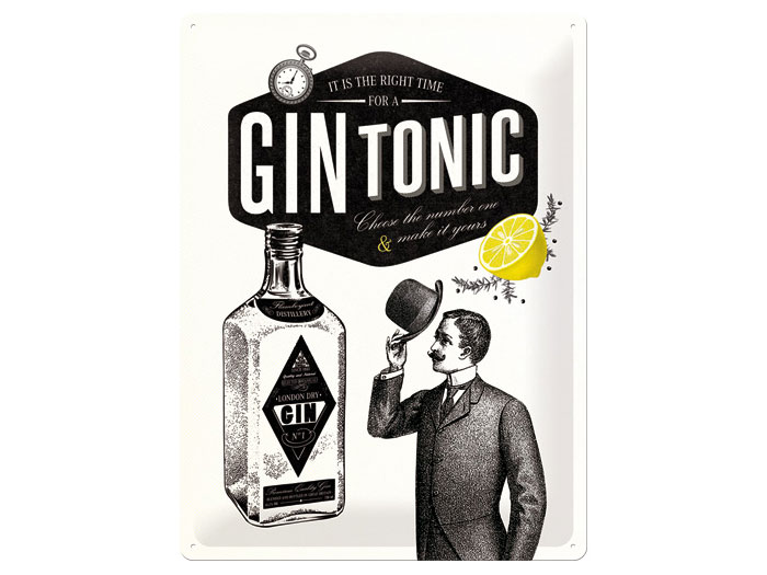 Plåtskylt - Gin Tonic 30x40 cm