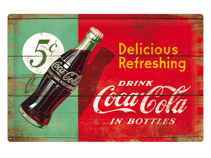 Plåtskylt - Drink Coca-Cola in bottle 40x60 cm