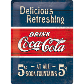 Plåtskylt - Coca-Cola Delicious Refreshing 30x40 cm