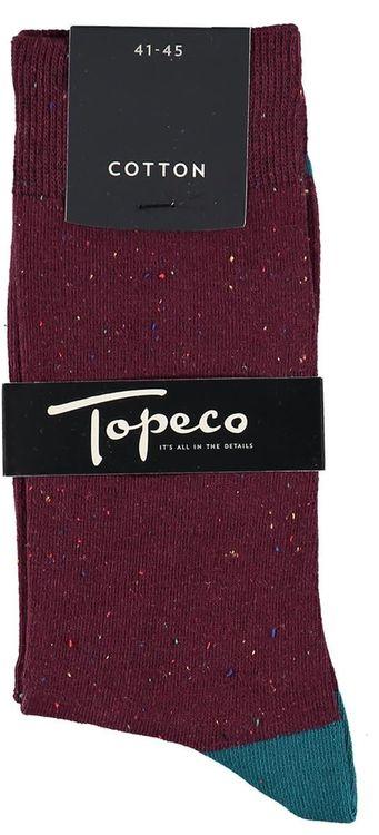 Vinröd bomullsstrumpa - Topeco