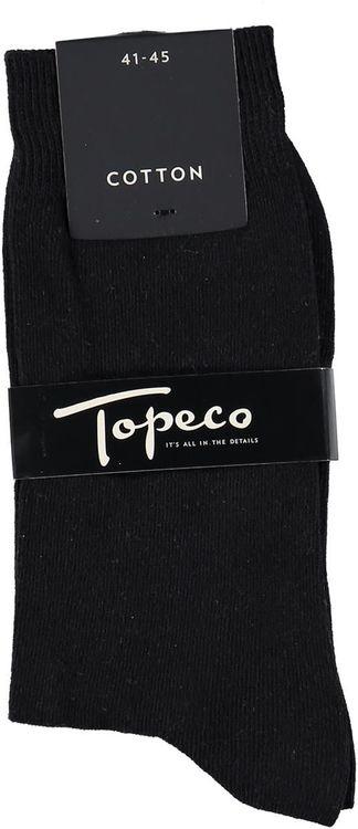 Enfärgad svart bomullsstrumpa - Topeco
