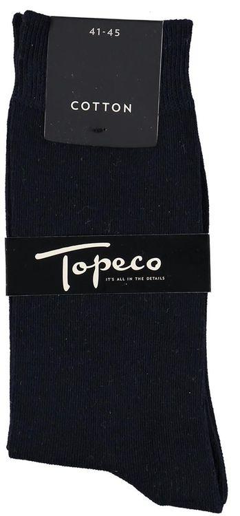 Enfärgad mörkblå bomullsstrumpa - Topeco