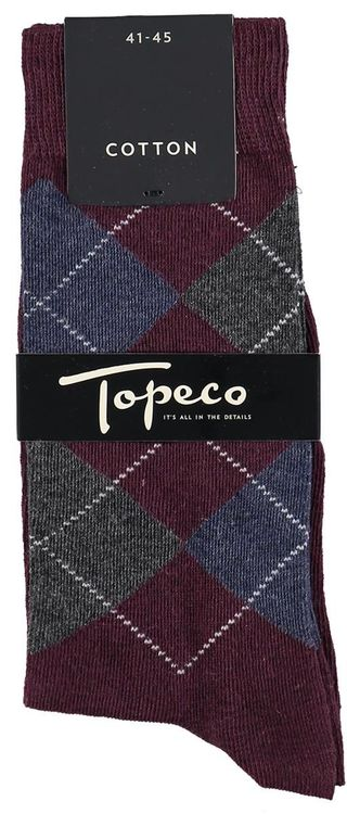 Vinröd argyle bomullsstrumpa - Topeco