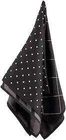 Svart näsduk med fyra olika mönster - Atlas Design