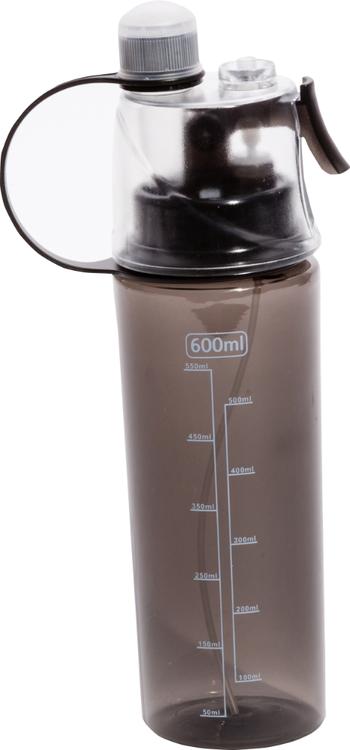 Grå vattenflaska med sprayfunktion