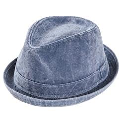 """Blå """"tvättad"""" Trilby hatt"""