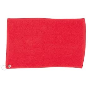 Röd golfhandduk
