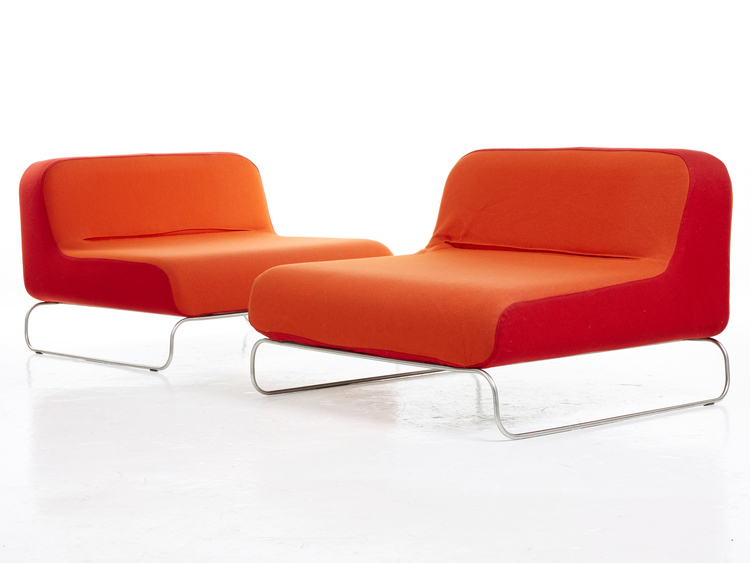 Loungefåtöljer i röd / orange