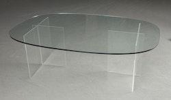 Soffbord, glasskiva och stativ i plexi