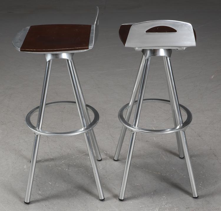 Barpallar i industridesign med aluminium & trä - Paket med 5st