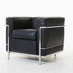 Loungefåtölj, Cassina LC2 Svart läder- Le Corbusier