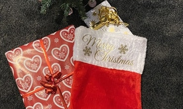 """Julstrumpa """"Merry Christmas + Valfritt Namn"""""""