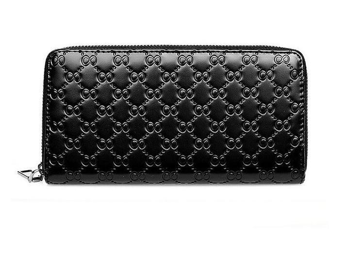 Stor plånbok i äkta skinn - 8 Style - Svart