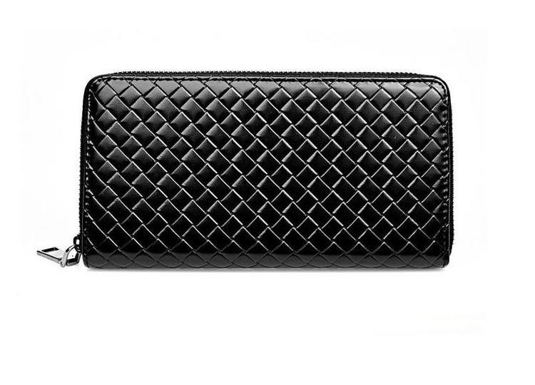 Stor plånbok i äkta skinn - Lattice Style - Svart