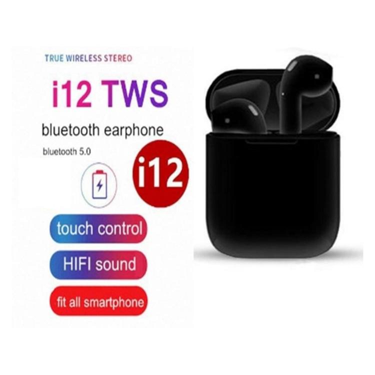 TWS i12 Hörlurar med Bluetooth 5.0 - för iOS & Android -Svart