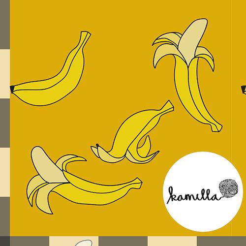 GOTS - POPLIN - Ockra banan