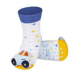 Babystrumpor med skallra-Ljusblå Bil