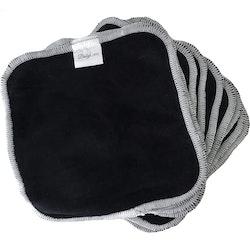 10 pack - Svarta tvättlappar i bomull
