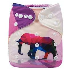 Pocketblöja med inlägg - Elefant