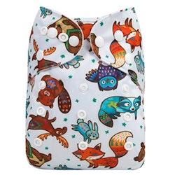 Pocketblöja med inlägg - Skogsdjur
