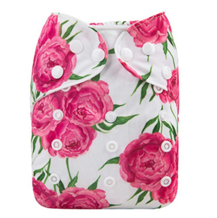 Pocketblöja med inlägg - Rosa ros