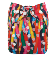 Pocketblöja med inlägg - Färgpennor