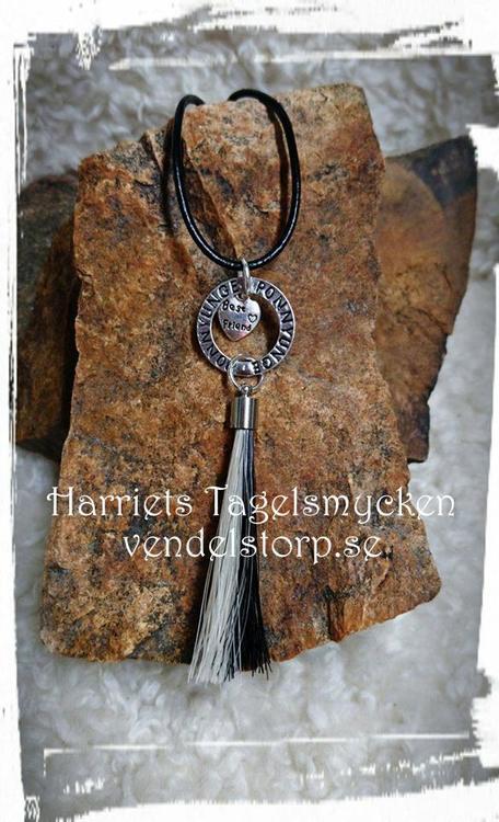 Halsband med budskapsring PONNYUNGE och tagel