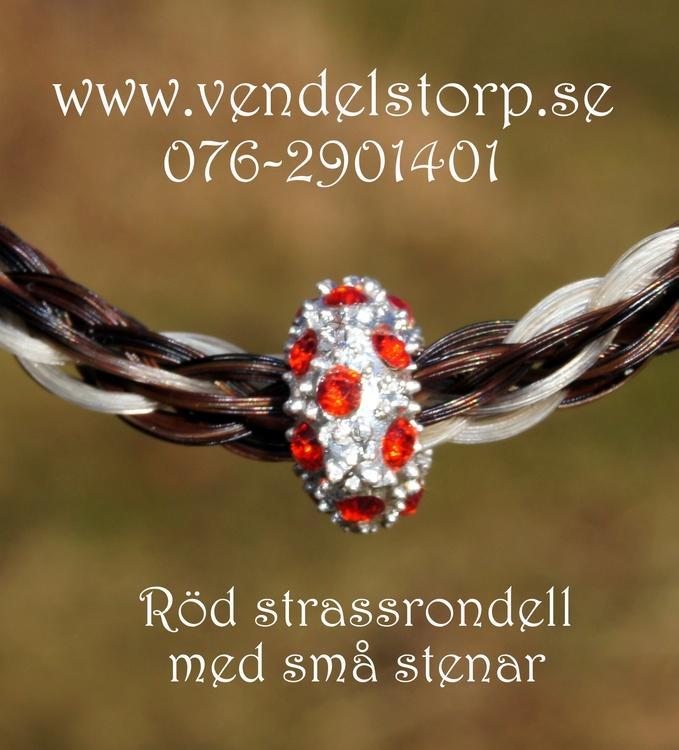 Rondell med små strasstenar, röd eller turkos