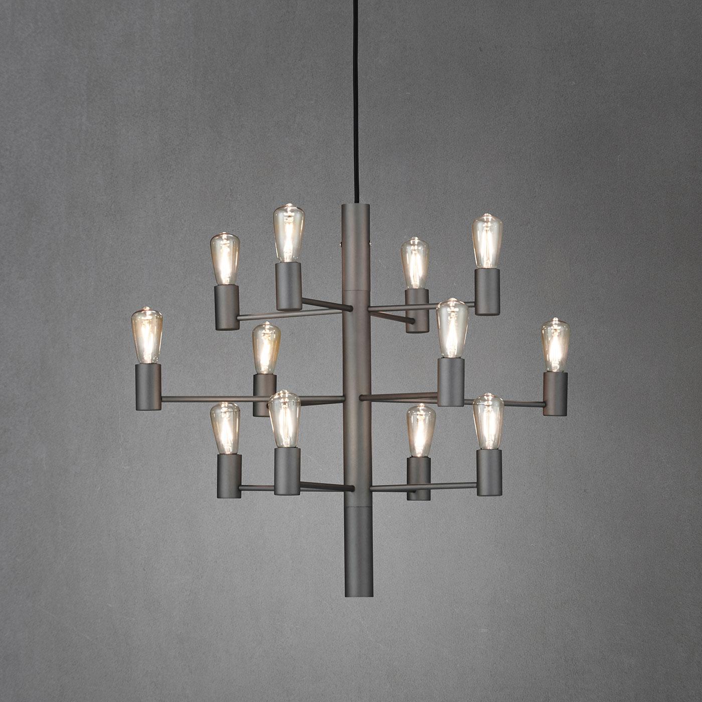 Herstal Manola 12 Dimbar LED Ljuskrona Grafit grå