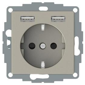 Vägguttag 1-vägs 2 x USB 2,4A Met