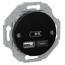 Renova USB laddstation TYP A+C 2,4A Svart