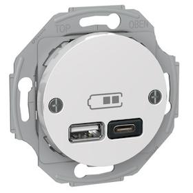 Renova USB laddstation TYP A+C 2,4A Vit