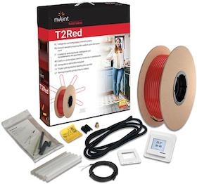 Värmekabel T2Röd 2m²/23m med termostat