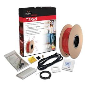 Värmekabel T2Röd 10m²/100m, med termostat