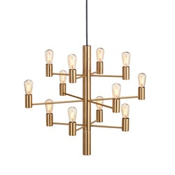 Herstal Manola 12 Dimbar LED Ljuskrona Satin Brass Matt