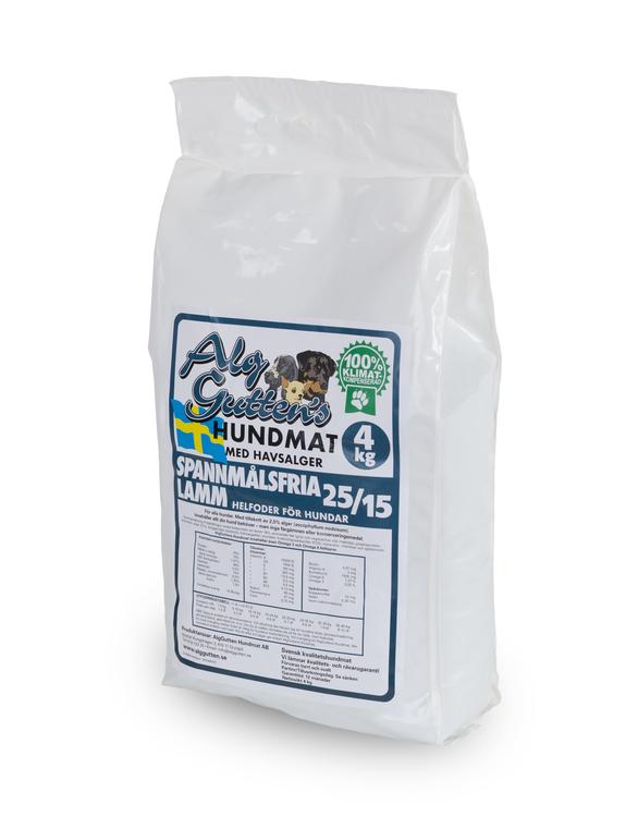 4 kg AlgGuttens Spannmålsfria Lamm 25/15, Superpremium, skonsamt för magen