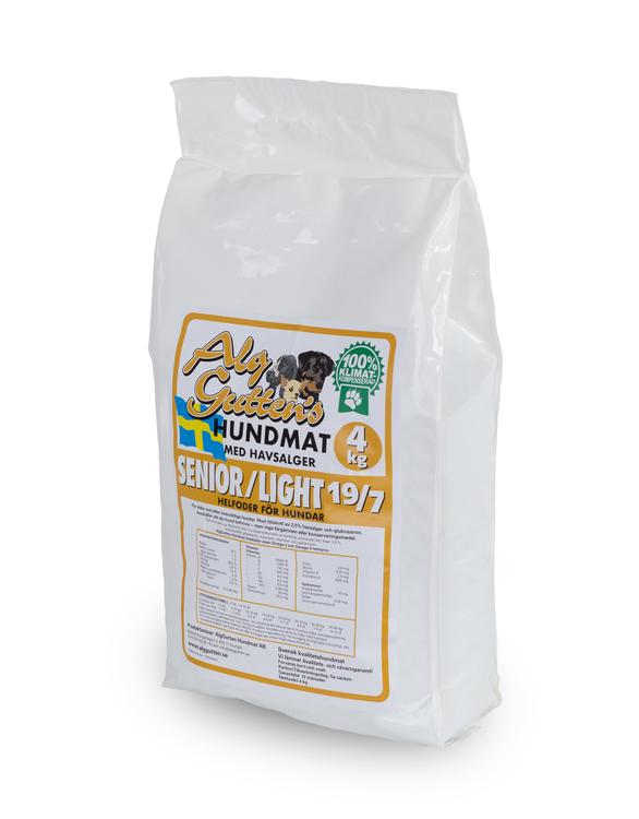 4 kg SENIOR/LIGHT 19/7 vetefritt med glukosamin, för äldre eller överviktiga hundar
