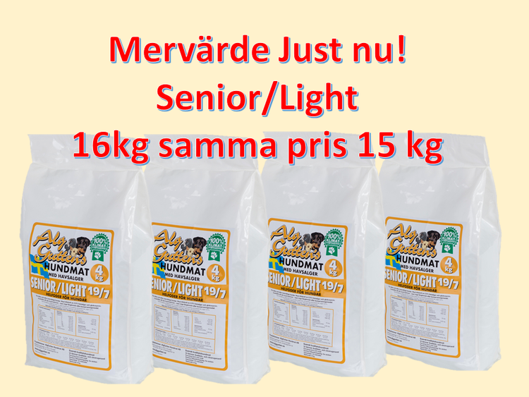 Mervärde 4x 4 kg SENIOR/LIGHT
