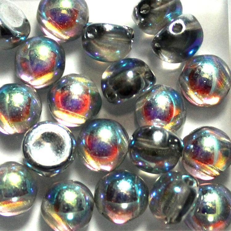 Crystal Silver Rainbow 2-hole Cabochon 20st