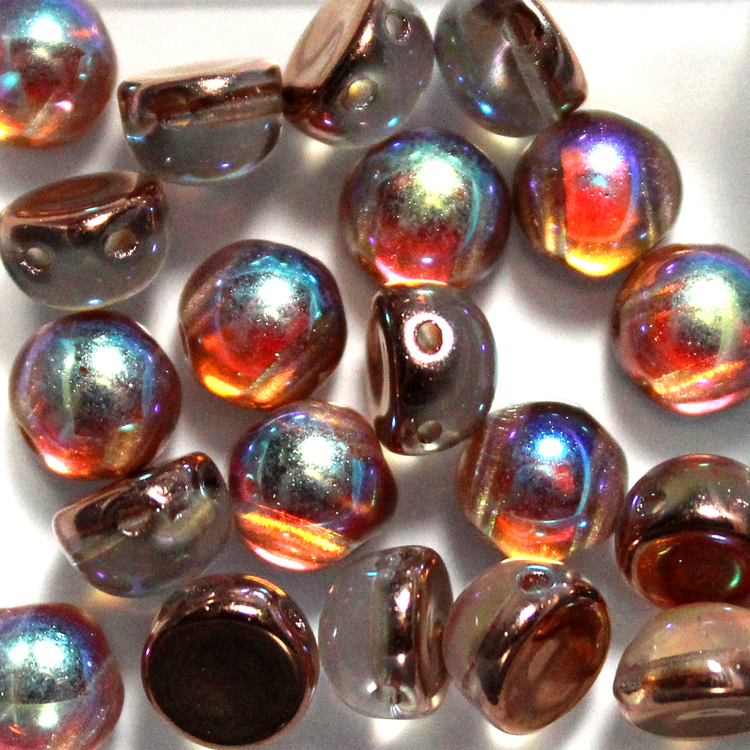 Crystal Copper Rainbow 2-hole Cabochon 20st
