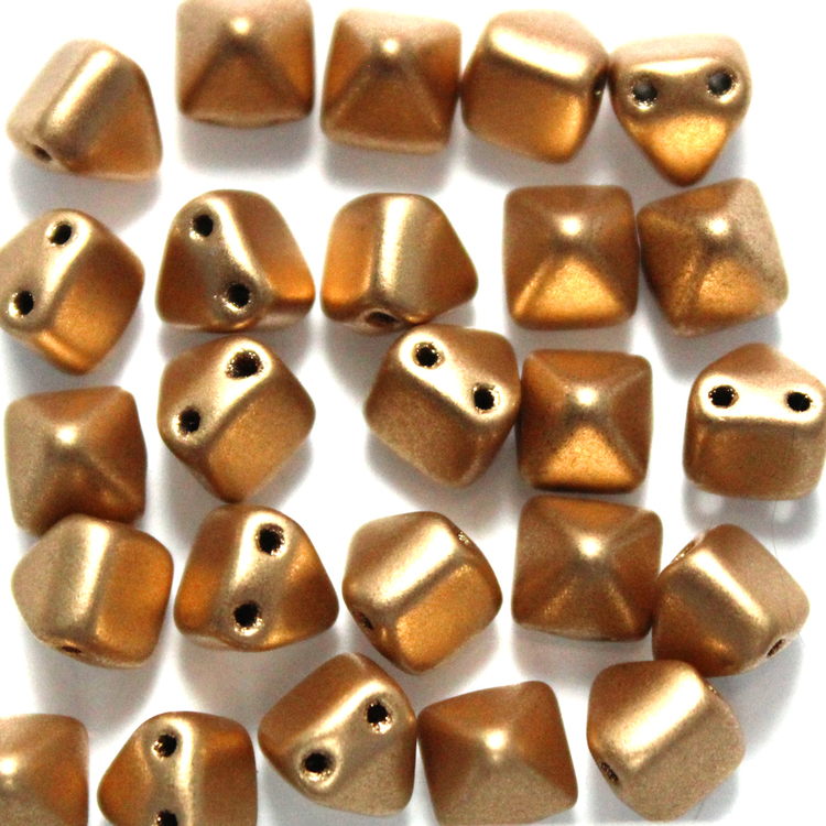 Aztec Gold Pyramid Beads 6x6mm 25st