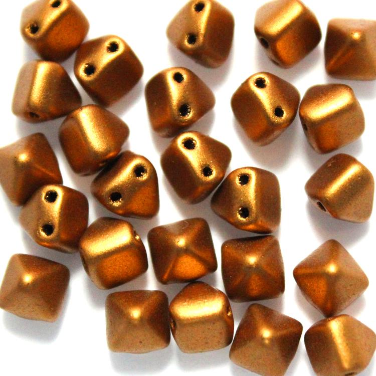 Brass Gold Pyramid Beads 6x6mm 25st