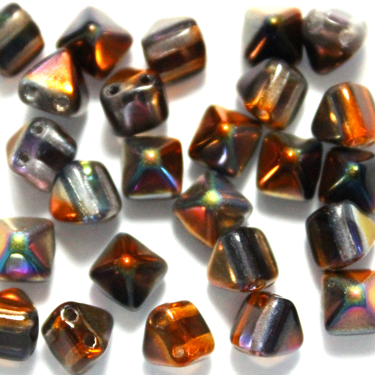 Crystal Magic Copper Pyramid Beads 6x6mm 25st