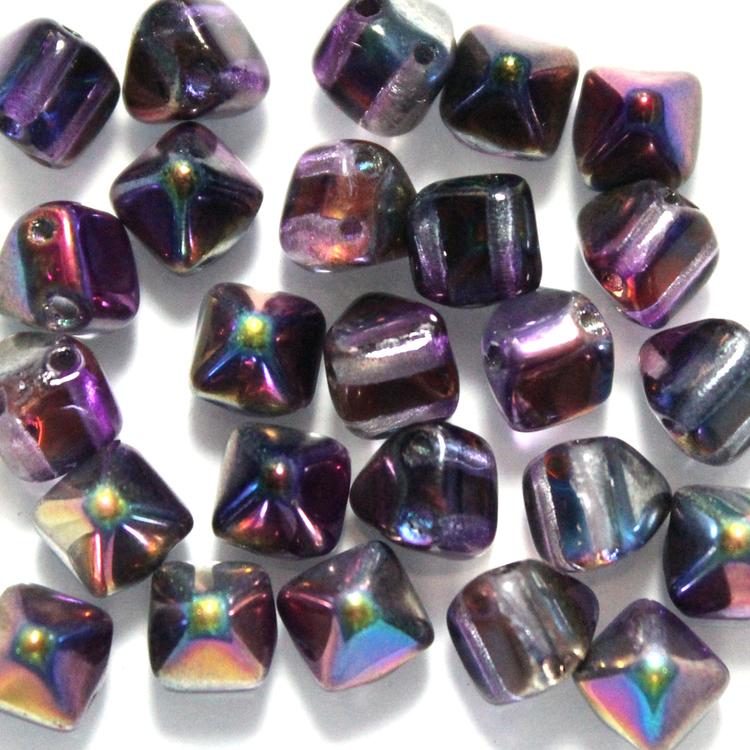 Crystal Magic Purple Pyramid Beads 6x6mm 25st