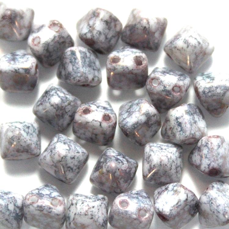 Alabaster Tercota Copper Pyramid Beads 6x6mm 25st
