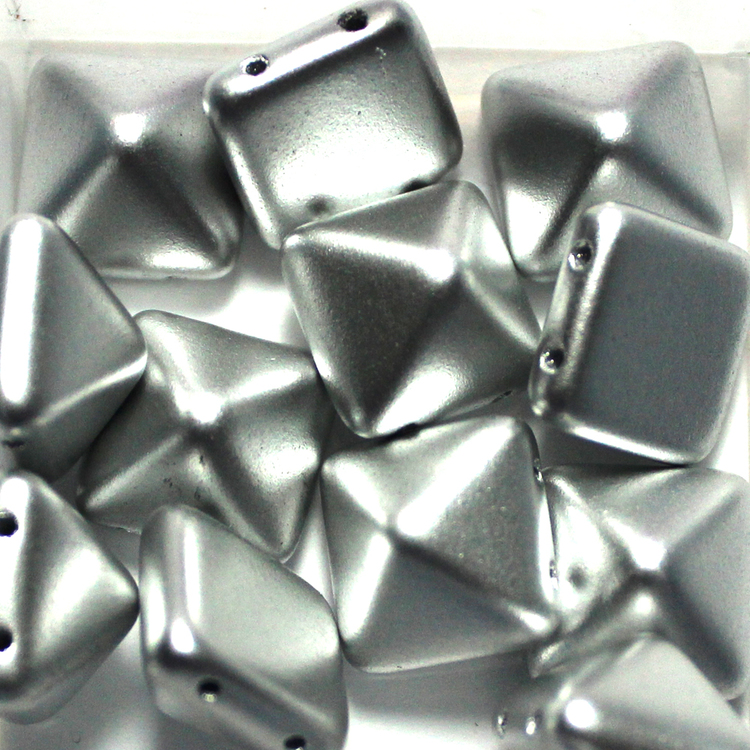 Aluminium Silver Pyramid Beads 12x12mm 12st