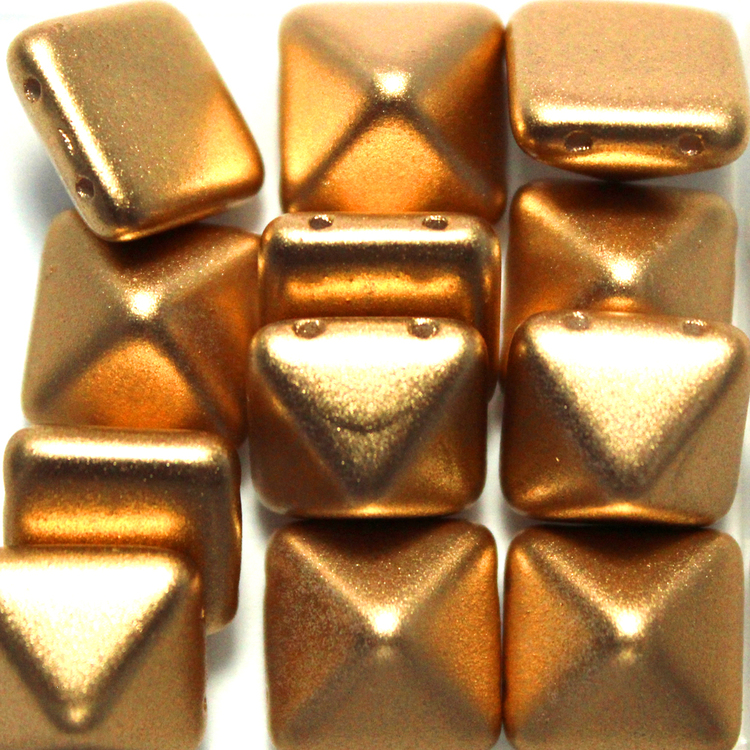 Aztec Gold Pyramid Beads 12x12mm 12st