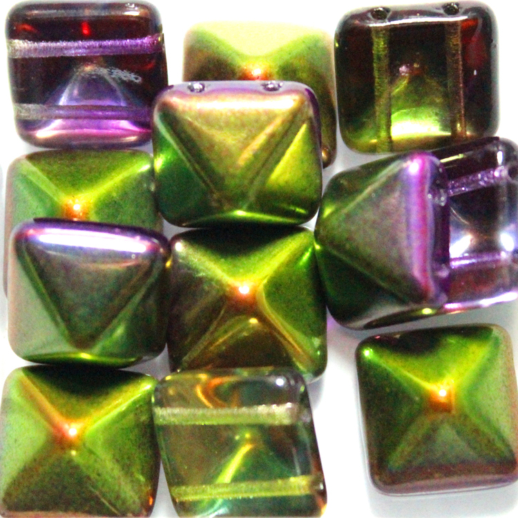Crystal Magic Orchid Pyramid Beads 12x12mm 12st